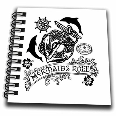 3droseラス・ビリントン・デザインNautical Designs–Mermaids rule-デザインwithアンカーDolphinsコンパスinブラックandホワイト–Drawing...