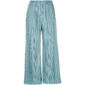 Pleats Please By Issey Miyake pleated cropped trousers - ブルー