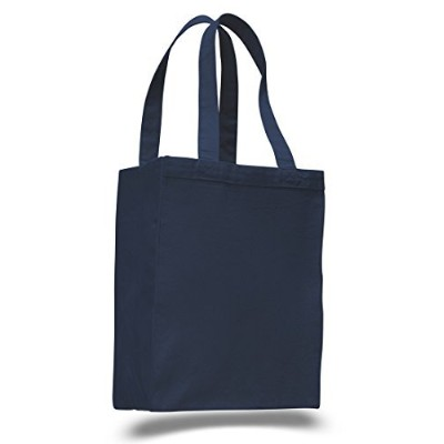 (Navy) - (12 Pack) Set of 12- Extra Heavy Duty Canvas Tote Bag with Gusset (Navy)