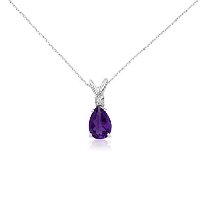 "14 K黄色またはホワイトゴールド7 x 5 Pear Shaped Gemstone and Diamond Pendant With 18 ""チェーン"