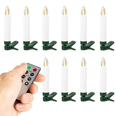 WYZworks 10pk Timer LED Taper Candles Battery Powered with Remote Control & Clip