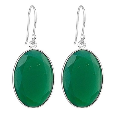 Green Onyx Gemstone Dangle Earrings