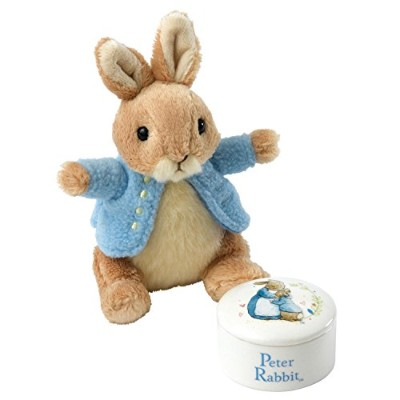 Beatrix Potter a27970 Peter Rabbit Trinketボックスとソフトおもちゃギフトセット