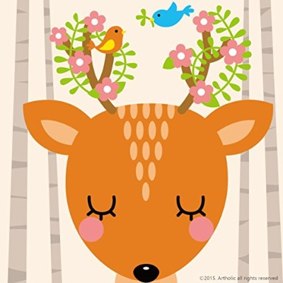 """DIY油絵、ペイントby Numberキットfor Kids–Cute Deer 8"""" x8"""" (フレーム入りキャンバス) CFY-P-2517"""