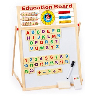 7in 1磁気ホワイトボードブラックボードDry Erase Board with Word 51個木製マグネットLetters Numbers Wordsチョークペンの教育図面Writingタブレ...