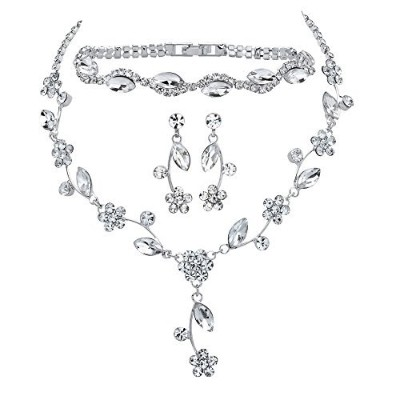 """marquise-cutクリスタル3ピースFloral Vineイヤリング、ネックレス、ブレスレットセットin Silvertone 13"""" 17"""""""