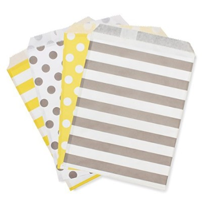 (Grey & Yellow Polka Dot & Rugby) - 13cm x 18cm Party Favour Bag, Pack of 12 (Grey & Yellow Polka...
