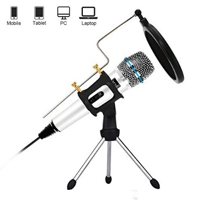 Profession Condenser Microphone Recording with Stand for PCコンピュータIphone電話Android iPad Podcastingオンライ...
