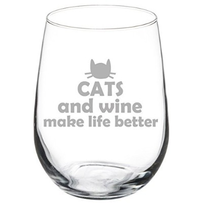 500ml Stemless Wine Glass Funny Cats and Wine Make Life Better