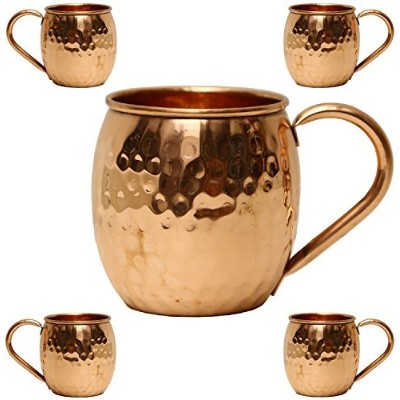 staglife Moscow Mule 100% Solid Pure Copper裏地なしMug / Cup With銅ハンドル( 473ml /ギフトセットの4、Hammered ...
