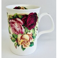 Garden Roses in a beautiful Deepレッド,ピンク& Pale Yellow On AホワイトFine Bone China Mug | Roses on...