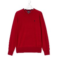 Ralph Lauren Kids TEEN logo embroidered jumper - レッド