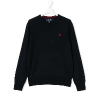 Ralph Lauren Kids TEEN logo embroidered jumper - ブルー