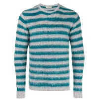 Nuur stripped knit sweater - グレー