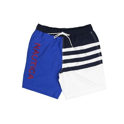 NAUTICA QUICK-DRY ASYMMETIC COLOR BLOCK SWIM SHORTS(TR8110/459:BLUE×NAVY×WHITE)ノーチカ/アシンメティックカラーブロックド...