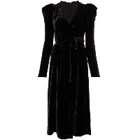 P.A.R.O.S.H. velvet belted dress - ブラウン