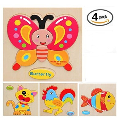 (domestic animal-chicken,fish,cat,butterfly) - Wtong 3D Wooden Puzzles Jigsaw Educational Toys...
