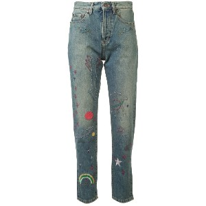 Saint Laurent embroidered high-rise jeans - ブルー