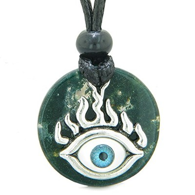 Cool Evil Eye Protection Flames Amulet Green Moss Agate Medallion Magic Powers調節可能なネックレス