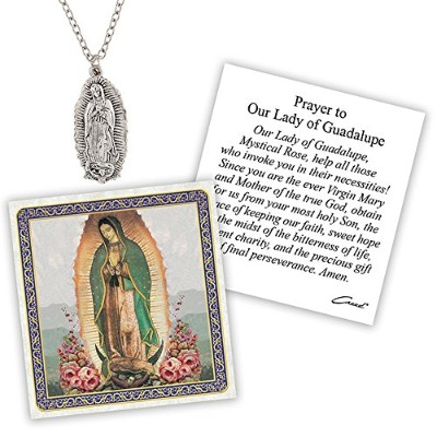 Silver Toned Our Lady of GuadalupeカトリックDevotionalペンダントwith Prayerカード、1 1 /2インチ