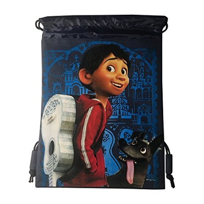 Disney Coco DrawstringバックパックピクサーLicensedスリングトートバッグジムバッグRemember Me (ブルーMiguel)
