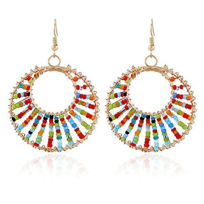 RareLove Bohemian Fashion Circle Beaded Chandelier Earrings Colorful