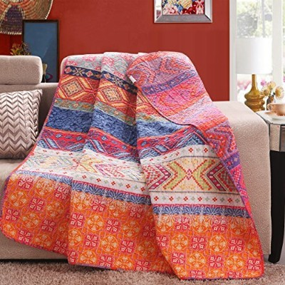 (Pattern 1) - Luxury Reversible 100% Cotton Multicoloured Boho Stripe Quilted Throw Blanket 150cm x...