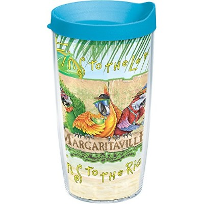 Tervis 1187401 Margarita Ville Fins Left Wrap Tumbler with Turquoise Lid, 470ml, Clear