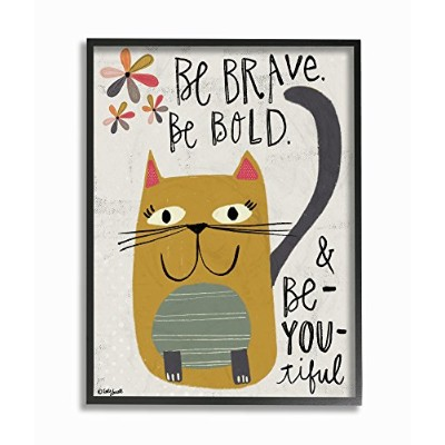 Stupell Industries Be Brave Be Bold Be You Be Beautiful Kitty ストレッチキャンバスウォールアート 16 x 1.5 x 20 米国製...
