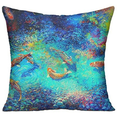 GRUNVGT Cushion Cover Pillow Cover Oil Painting Fishes Decorative Customized Pillow Case Sofa Seat...