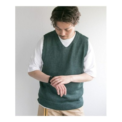 【SALE/40%OFF】URBAN RESEARCH LINEN KNIT VEST アーバンリサーチ カットソー【RBA_S】【RBA_E】【送料無料】