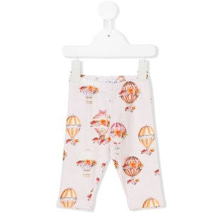 Monnalisa hot air balloon print leggings - ピンク&パープル