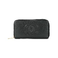 Chanel Vintage CC logo zip around wallet - ブラック
