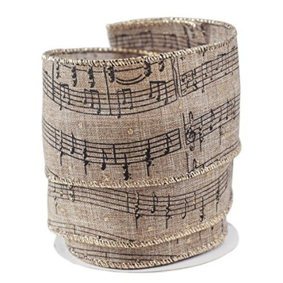 Musical Note Sheet Linen Wired Ribbon #40-2.5 x 10 yards [並行輸入品]