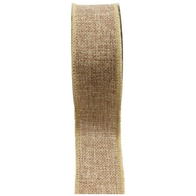 Kel-Toy RDJB138-12G Sparkle Faux Burlap Ribbon with Gold Glitter, 1.5-Inch by 10-Yard, Natural by...