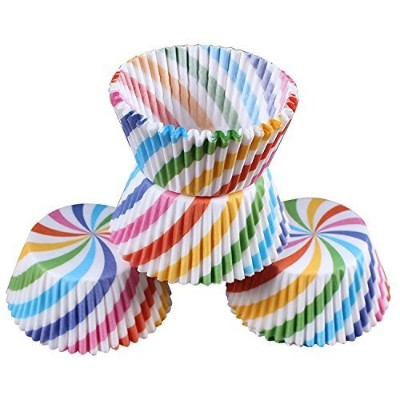 (100 pcs Rainbow paper baking cups) - LetGoShop Baking Cups- Disposable Cupcake Liners Muffin Paper...