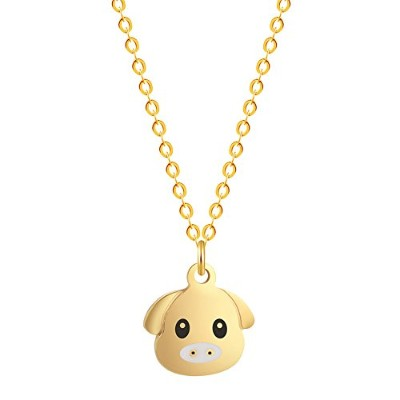 Mettu Cute Pig Headペンダントネックレスforキッズ誕生日ギフト卒業ギフト友情ジュエリー ゴールド