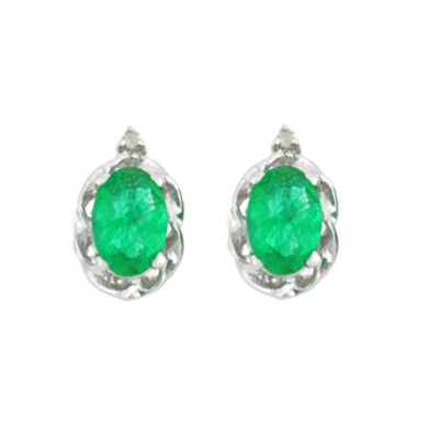 1 Ct Simulated Emerald & Diamond Oval Stud Earrings .925 Sterling Silver Rhodium Finish
