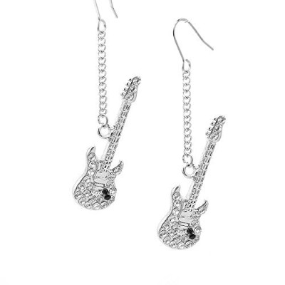 chelseachicnyc高光沢Dangling Crystal Electric Guitar Earrings