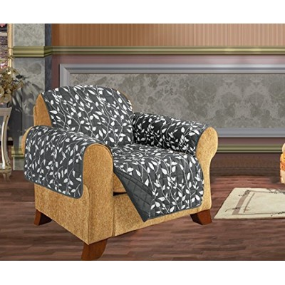 (Chair, Gray Leaf Print) - Elegant Comfort QUILTED FURNITURE PROTECTOR for Pet Dog Children Kids -...