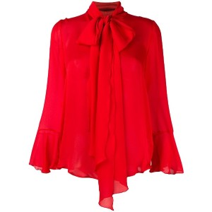 Blumarine pussy bow detail top - レッド