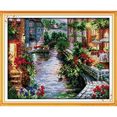 The Lakeside Housesクロスステッチ11CT 14CTクロスステッチ刺繍用の風景クロスステッチキットホームデコレーションNeedlework 14CT-Count F401