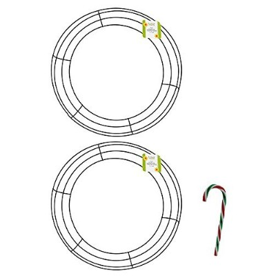 """14.25-in。メタルWreath Rings with Free 6"""" Candy Caneオーナメント (Pack of 2) シルバー"""