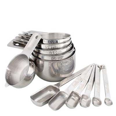 Stainless Steel Measuring Cups and Spoons 12 Piece Combo Set Stackable Heavy Duty Quality, Perfect...