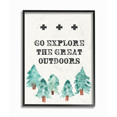 Stupell産業Go Explore the Great Outdoorsツリーライン図面ストレッチキャンバス壁アート、16x 1.5X 20, Proudly Made in USA 11...