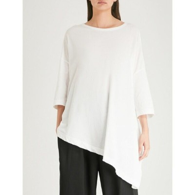 ys レディース トップス Tシャツ【asymmetric cotton-jersey t-shirt】White