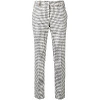 Peserico cropped check trousers - グレー