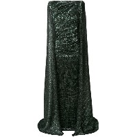 Talbot Runhof laminated cape gown - グリーン