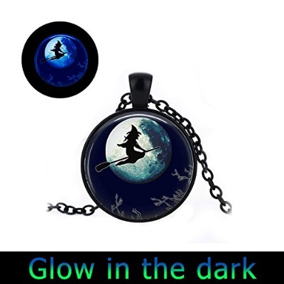 glowlala ® Glowing Witch on broomstickネックレスGlowingジュエリーグローin theダークペンダント魔女と月クリスマス