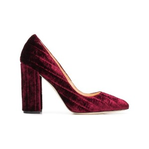 Chloe Gosselin block heel velvet pumps - ピンク